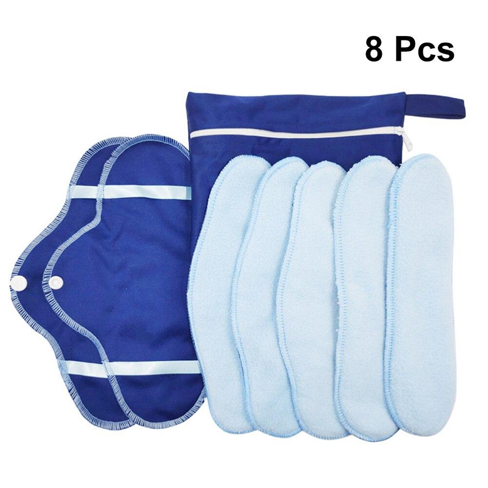 8pc Menstrual Pad Organic Cotton Washable Cloth Reusable Female Sanitary Pad High Absorption Breathable Soft Menstrual Cloth