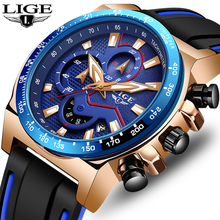 купить 2019LIGE New Wristwatch Men Watches Top Brand Luxury Silicone strap Quartz Watch For Men Sport Clock Male Waterproof Chronograph по цене 1121.31 рублей