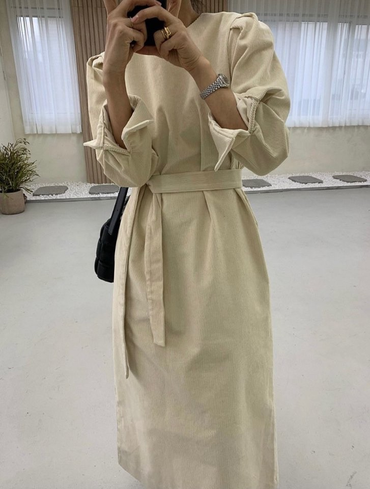 Korean Style 2021 Women Winter Spring Loose Dresses Sashes Straight Prairie Chic Elegant Striped Midi Ankle-length Female