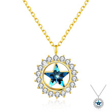 ZEMIOR 925 Sterling Silver Necklace For Women Austria Crystal Star Round Snowflake Pendant Popular Birthday Gifts Fine Jewelry