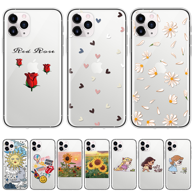TPU For iPhone 11 Pro XS Max Love Heart Flowers Phone Case Clear For iPhone SE 2020 X XR 6 S 7 8 Plus 5 Fashion Daisy Soft Cover