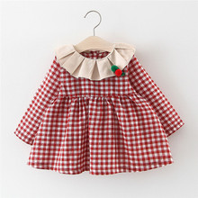 2019 Fashion Toddler Baby Girl Dresses Fall Winter  Kids Girls Ruched Ruffles Plaid Print Casual Clothes