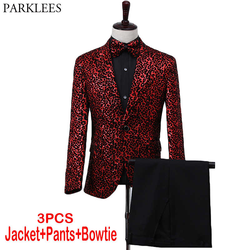 Sexy Leopard Sequin Red Suit Set Men Slim Fit Luxury Design Tuxedo Suits Male Nightclub Singer Dancer Stage Prom Costume Homme