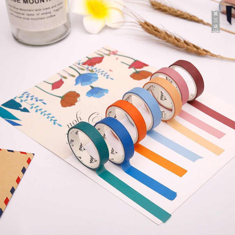 6 pièces/ensemble mignon couleur unie Washi ruban étiquette ruban de masquage Kawaii ruban adhésif décoratif pour autocollants Scrapbooking ruban japonais
