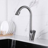 Rubinetto da cucina estraibile pistola miscelatore da cucina in ottone grigio rubinetto monoforo girevole rubinetto per lavello a 360 gradi miscelatore caldo e freddo