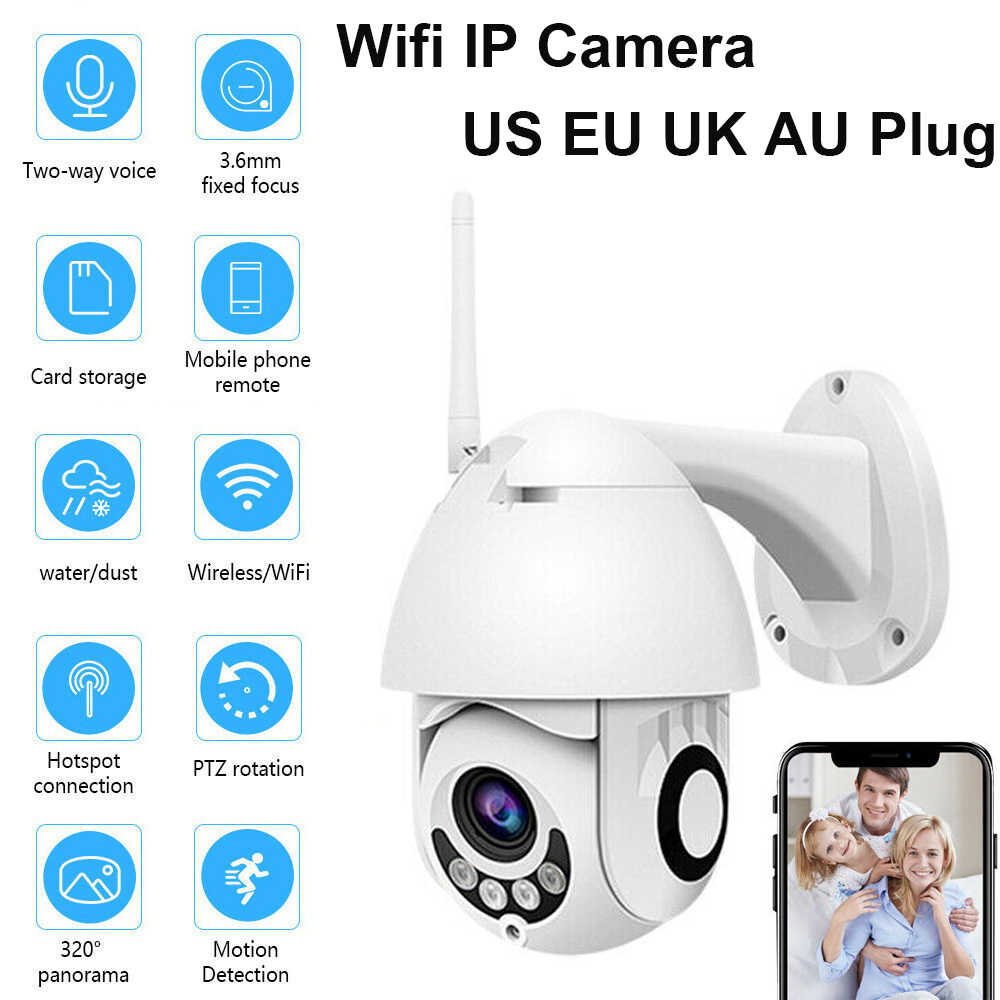 Akses Internet Nirkabel Outdoor PTZ Ip Kamera 1080 P Speed Dome CCTV Keamanan Kamera Ip Wifi Eksterior 2MP IR Pengintai Rumah Kami eu AU UK Plug