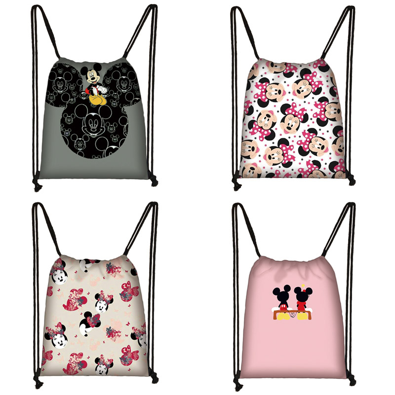 Mickey Minnie Print Drawstring Bag Women Travel Bag Teenager School Bag Brown Girl And Boy Backpack Fashion Female Storage Bag T