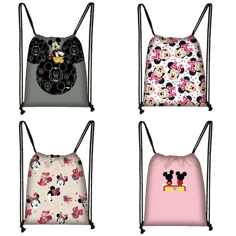 Mickey Minnie Print Drawstring Bag Women Travel Bag Teenager School Bag Brown Girl And Boy Backpack Fashion Female Storage Bag T
