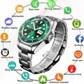 LIGE Smart Uhr Männer Smartwatch LED Voll Touch Screen Für Android IOS Herz Rate Blutdruck Monitor Wasserdichte Fitness Uhr