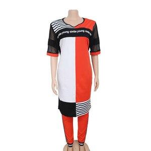 Новая африканская одежда для женщин, комплект из двух предметов, Длинные Топы, обтягивающие штаны, комплект из сетчатого лоскутного спортив...