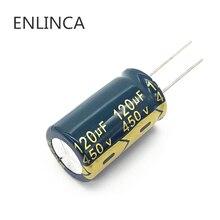 5 stks/partij 120UF hoge frequentie lage impedantie 450v 120UF aluminium elektrolytische condensator maat 18*30mm 20%