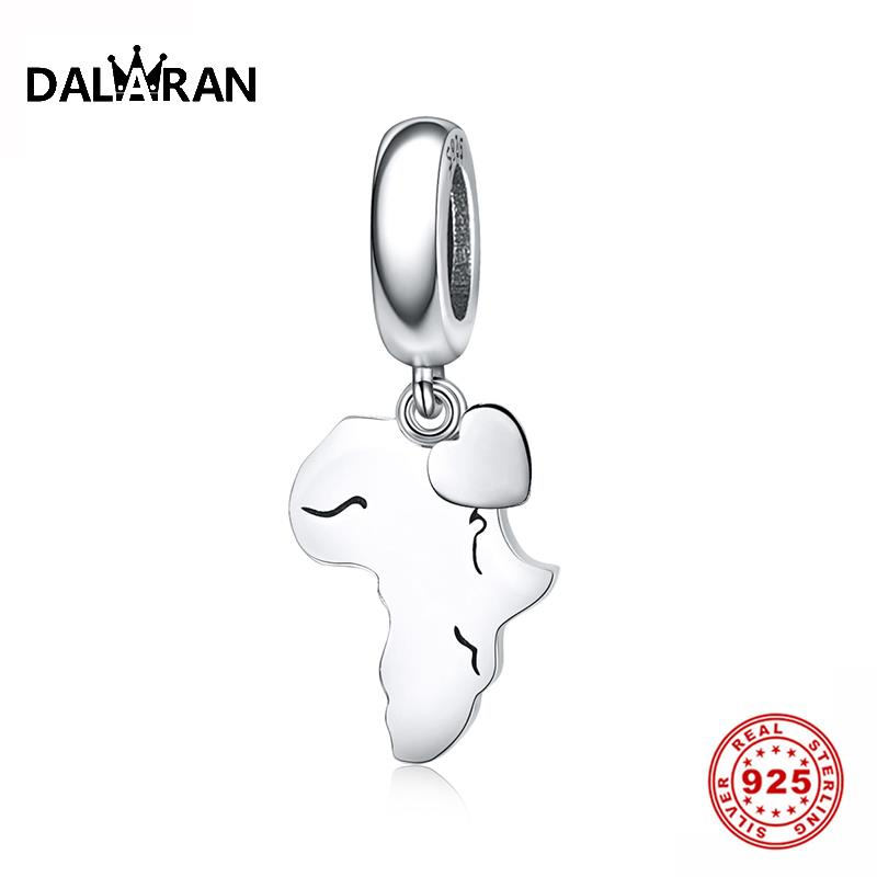 DALARAN 925 Sterling Silver Africa Map Pendant Charm Dangle Fit Original Diy Pandora Bracelet Necklace Silver 925 Jewelry Gift