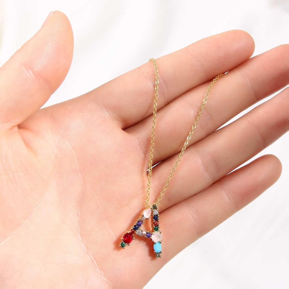 2019 złoty kolor początkowy wielokolorowy cyrkoniowy naszyjnik naszyjnik personalizowany z literami biżuteria z pierwszą literą imienia dla kobiet akcesoria prezent dla dziewczyny