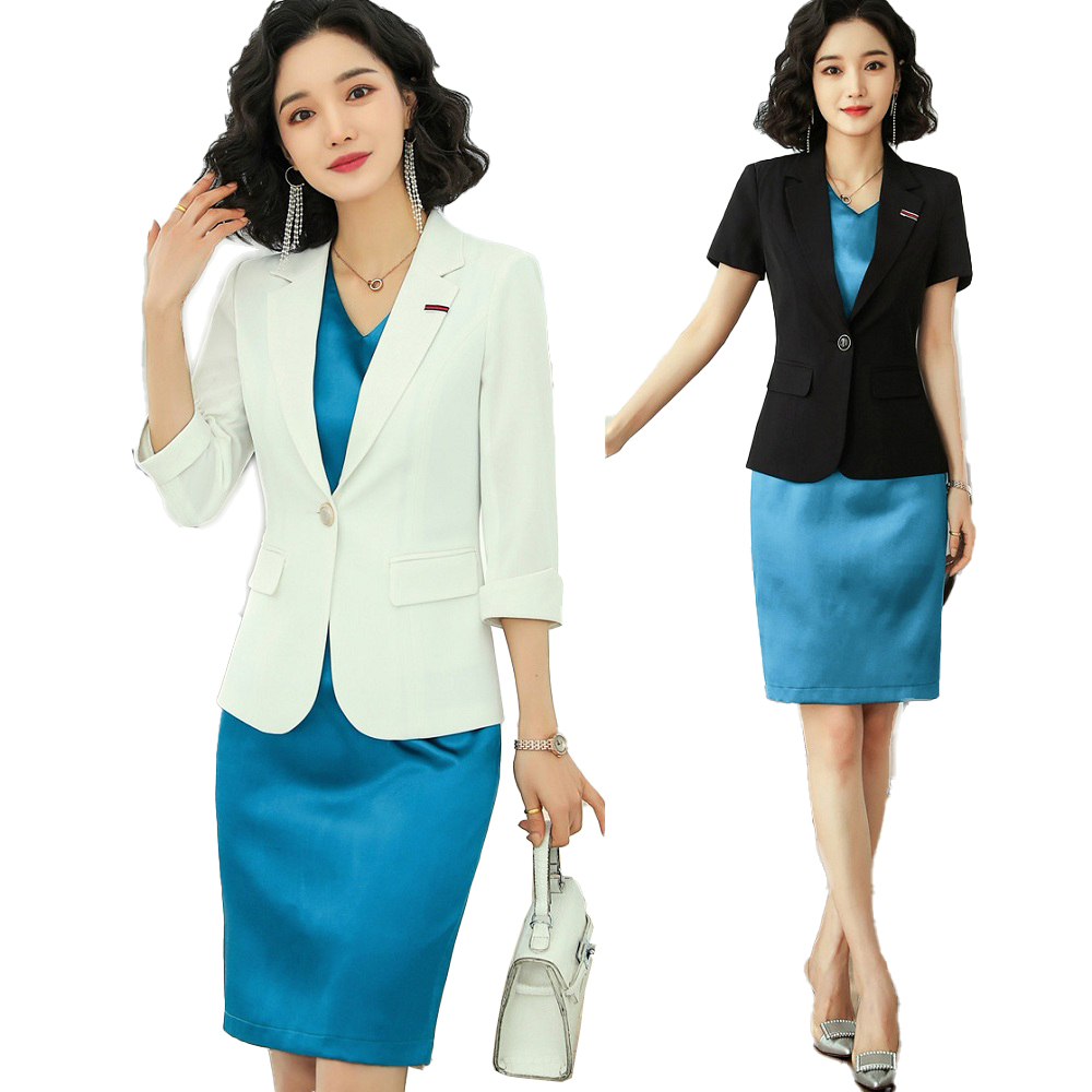 Ladies White Blazer Women Business Suits Work Wear Dress and Jacket Set Half Sleeve Elegant OL Styles Elegant Dresses Suit 2 Pcs