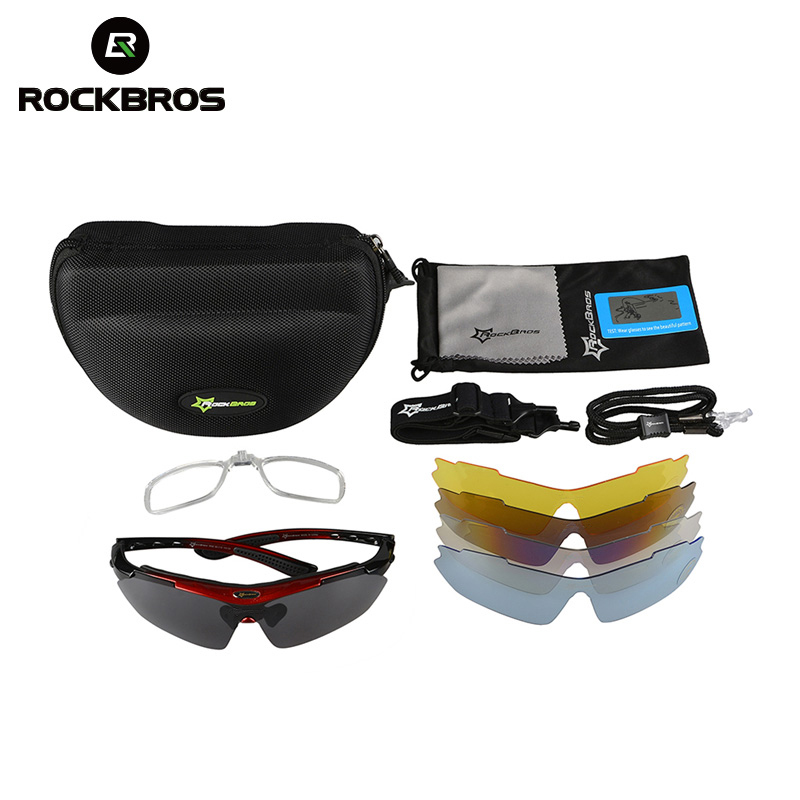 Image 5 - ROCKBROS Polarized 5 Lens Cycling Glasses UV400 Outdoor Sports Sunglasses Goggles Safety Protection Bicycle Eyewear Myopia FrameCycling Eyewear   -