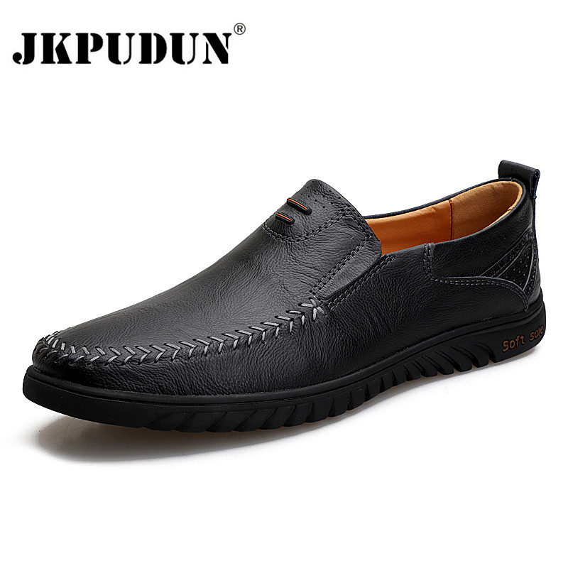 Men Casual Shoes Brand 2020 Genuine Leather Mens Loafers Moccasins Comfy Breathable Slip On Driving Shoes Black Plus Size 37-47