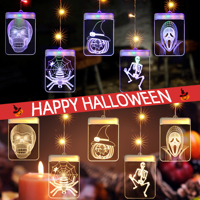 3D Halloween Pattern Curtain Light  LED Christmas String Fairy USB Wall Hanging Lamp Outdoor Indoor Decoration