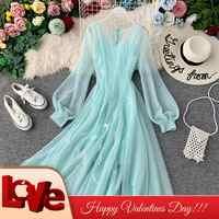 Jeune Gee élégant printemps col en v lanterne manches Applique plume maille robe de fée femmes maille Midi Flare balançoire robes Vestidos