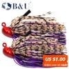 B&&U Rubber Flipping Jig Vertical line tie Fishing Lures Pesca Artificial Bait Skirt Rubber Fishing Jigs Head Buzz Swim Bass Jig