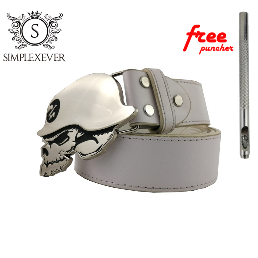 Silver Skull Belt Buckle Suitable For 4cm Width Belt Men's Belt Buckle With Belt As Gifts