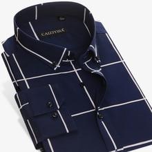 الرجال كبيرة منقوشة والتحقق من السهل الرعاية قميص القطن طويلة الأكمام القياسية صالح زر أسفل مقيد قمصان القماش القطني عادية