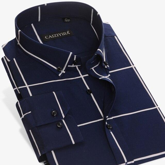 Männer Große Plaid und Überprüfen Pflegeleicht Baumwolle Hemd Lange Sleeve Standard fit Taste Unten Kragen Casual gingham Shirts