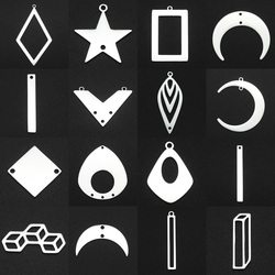 5pcs/lot 100% Stainless Steel Geometric Moon Star Waterdrop DIY Earring Connector Charm Wholesale Never Fade