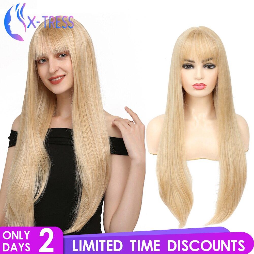 Longa reta ouro loira peruca sintética com franja parte do meio para as mulheres de alta temperatura festa fibra peruca cosplay diário X-TRESS