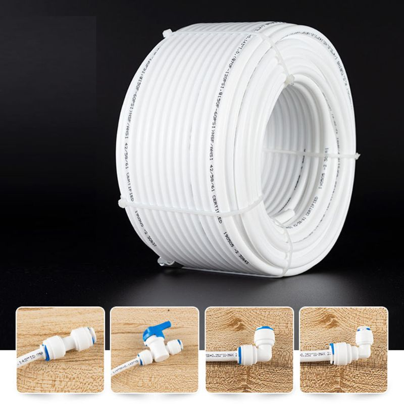 1/4 Inch 20m/65.62ft White PE Pipe Flexible Tube Hose For RO Water Filter System Aquarium Revers