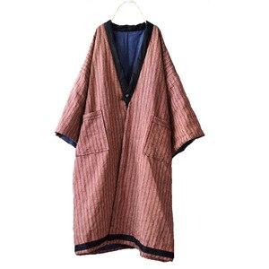 Image 5 - Parka rayé en lin pour femme, manteau Long, épais et chaud, avec poches de grande taille, hiver, style ample, YoYiKamomo