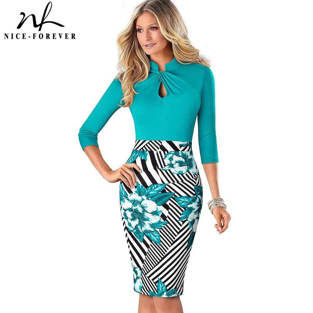 Nice forever Vintage Contrast Color Patchwork Wear to Work Knot vestidos Bodycon...
