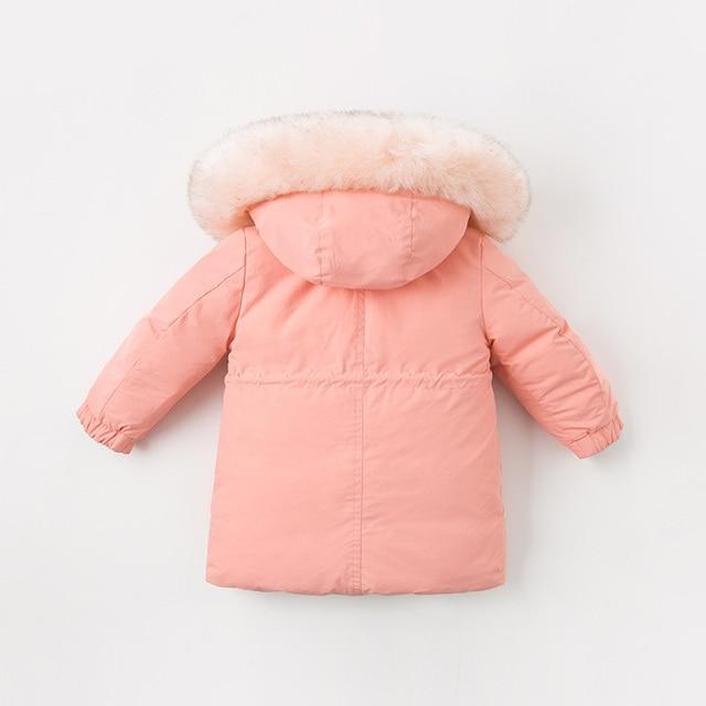 DB11621 dave bella winter baby unisex down reversible coat hooded fur outerwear children 90% white duck down padded kids jacket
