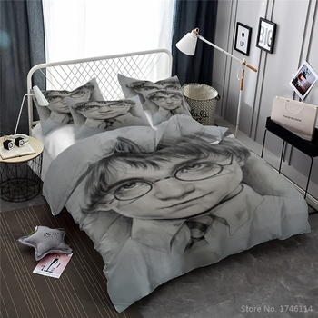 Classic Movie Potter 3D Cartoon Printed Bedding Set Comfortable Duvet Cover Set Bed Linens for Kids Twin Full Queen King Size
