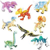 Pteranodon-bloques de construcción del mundo de los dinosaurios para niños, de Tiranosaurio Rex D-REX, figuras de dinosaurios, juguetes, 77087
