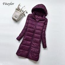 Женский зимний теплый пуховик Fitaylor, ульсветильник пуховик на 90% белом утином пуху, Женская парка с капюшоном, модель 4XL, женские куртки