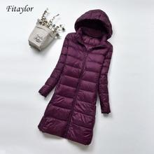 Fitaylor Winter Warme Jas Vrouwen Ultra Licht 90% Witte Eend Donsjack Vrouwen Hooded Parka Plus Size 4XL Vrouwelijke jassen