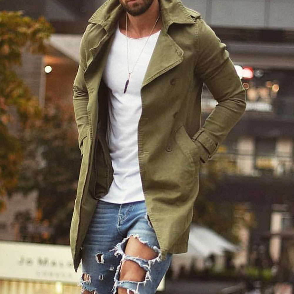 Men's Trench Coat 2019 Autumn Army Green Military Fashion Plus Size Basic Outwear Men Windbreaker 3XL 4XL Causal Blue Long Coats