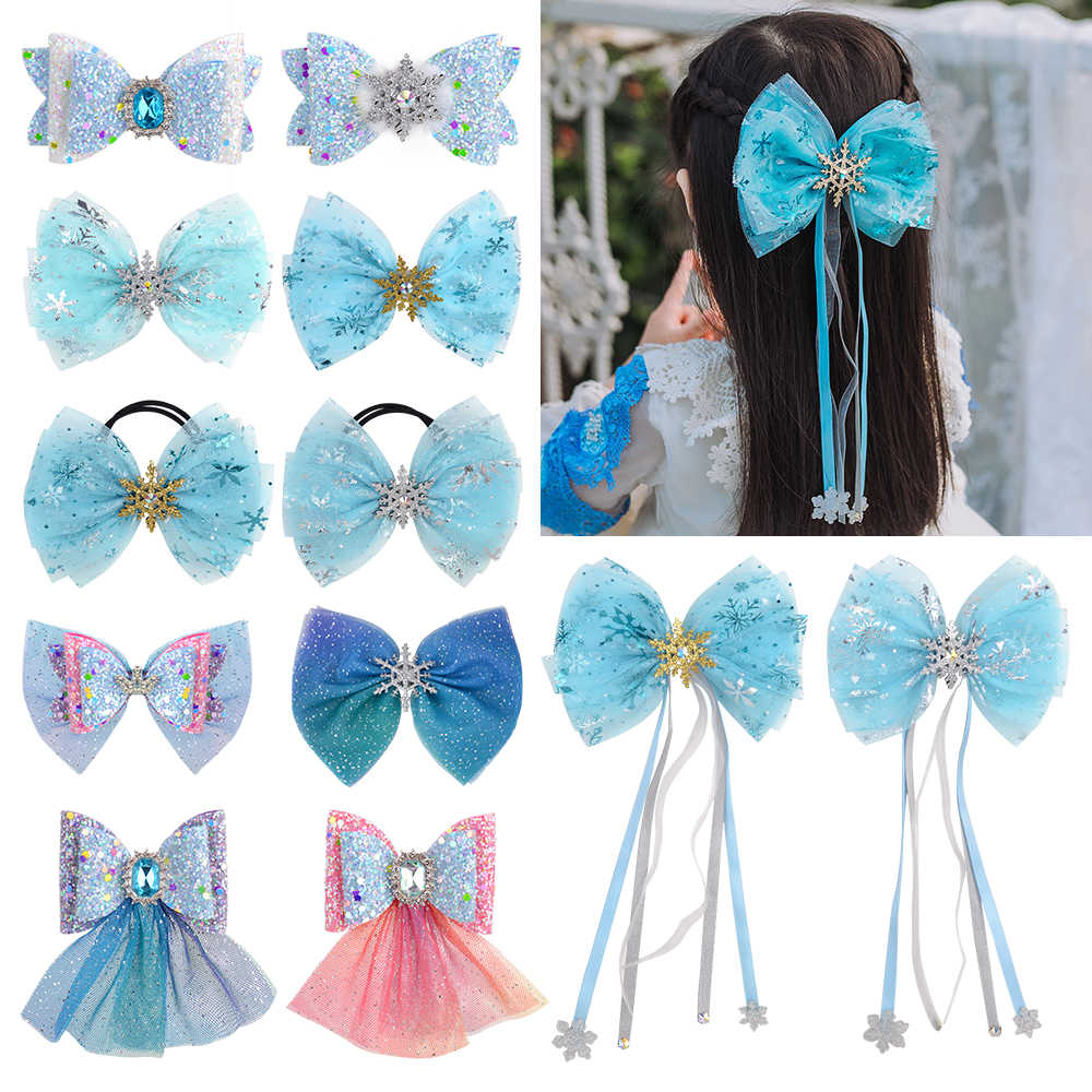 Cute Kids Girls Snowflake Ribbon Hair Bows Clip Children Hairpin Christmas Gifts
