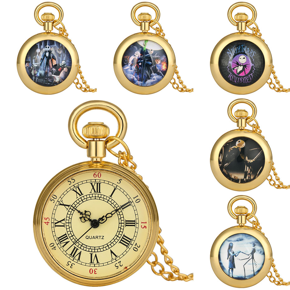 The Nightmare Before Christmas Theme Golden Roman Numerals Quartz Pocket Watch Exquisite Necklace Pendant Clock Gifts Kids Boys