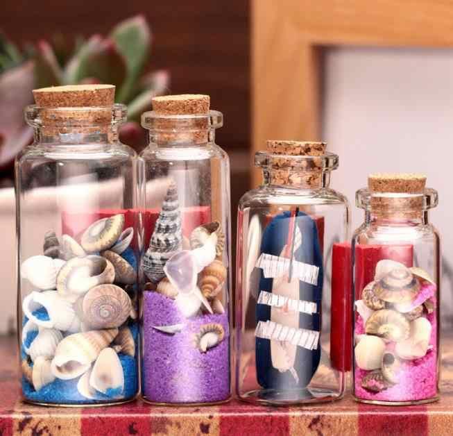 زجاجة مع أصداف بحرية محارة الملونة الرمال زجاجة جرة متمنيا زجاجات هدية عيد ميلاد رسالة زجاجات الحالي
