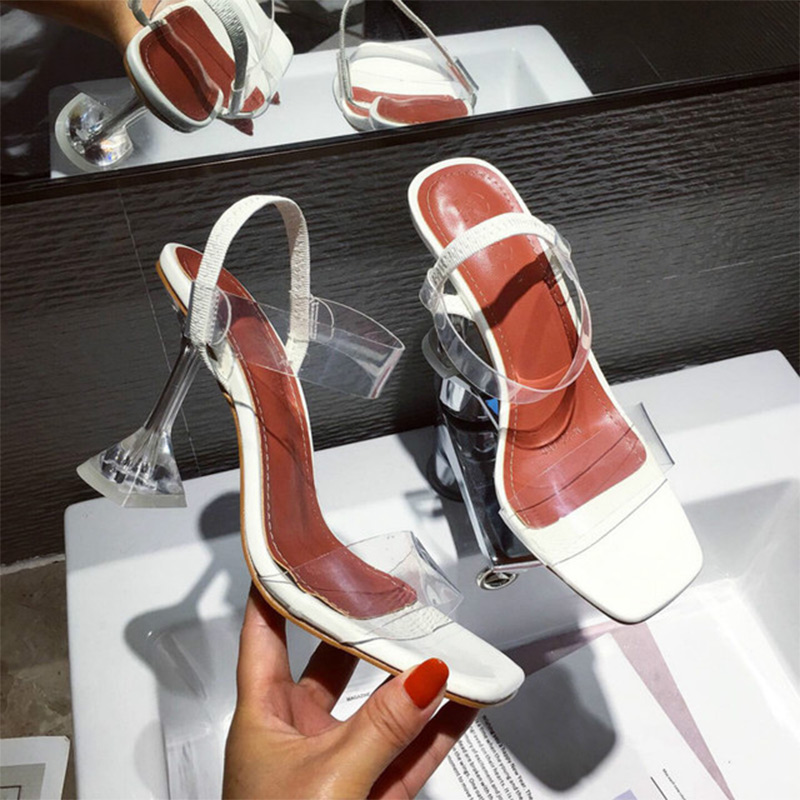 Summer Women Crystal Open Toe Jelly Sandals Ladies Elastic Band Sike High Heels Female Transparent Pumps Fashion Shoes 2