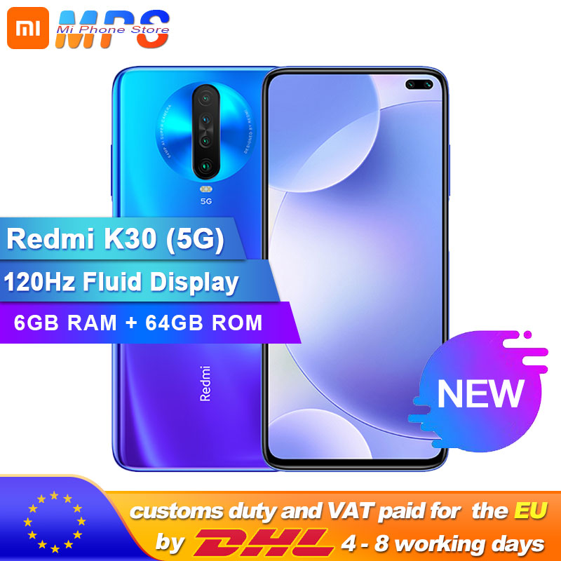 "Original Xiaomi Redmi K30 5G 6GB 64GB Snapdragon 765G Octa Core Smartphone 6.67"" 64MP Quad Rear Camera 4500mAh"