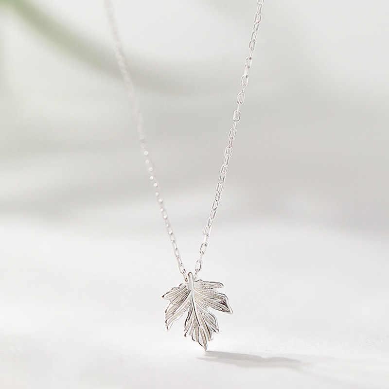 Baru Perak Kecil Maple Daun Liontin Kalung Charm 925 Pot Tanaman Kalung untuk Wanita Gadis Gaya Sederhana Fashion Perhiasan