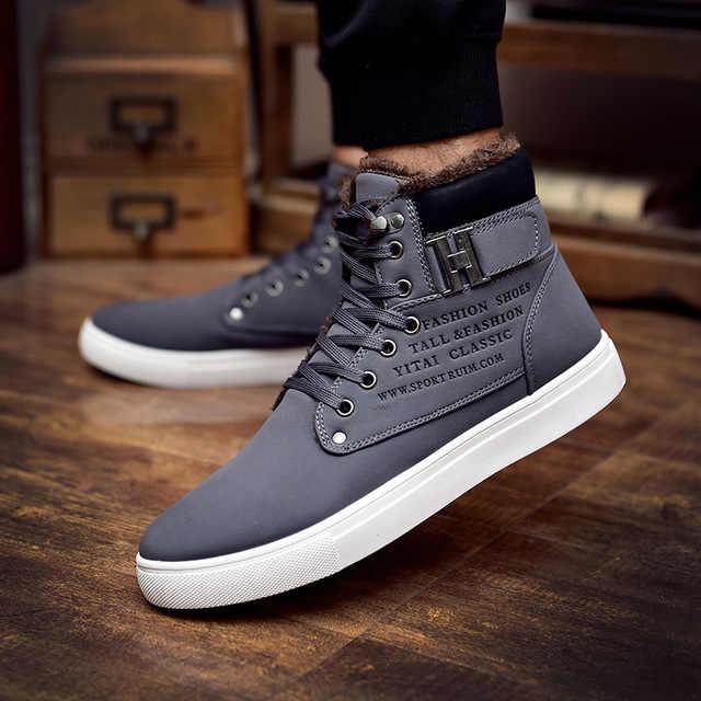 Dropshipping 2019 Hot Men รองเท้าแฟชั่นฤดูหนาวรองเท้าฤดูใบไม้ร่วงรองเท้าหนังผู้ชายใหม่รองเท้าสบายๆสูงด้านบนผ้าใบ