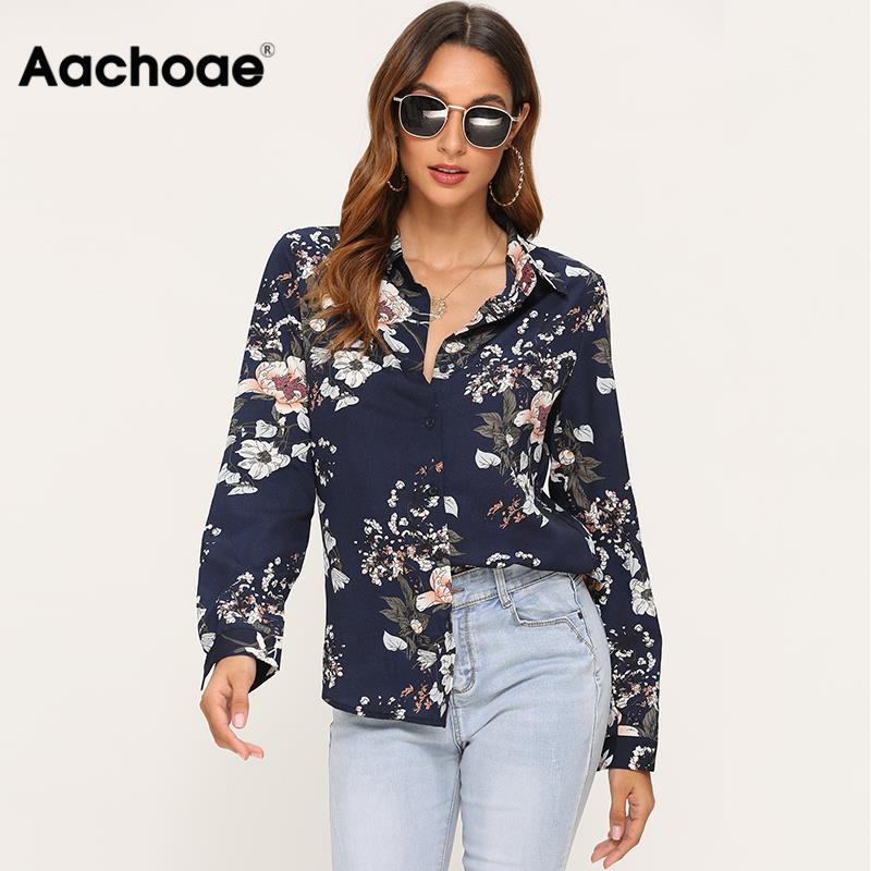 Women Floral Print Loose Casual Turn Down Collar Blouse Ladies Long Sleeve Elegant Shirt Plus Size Leisure Tops Haut Femme