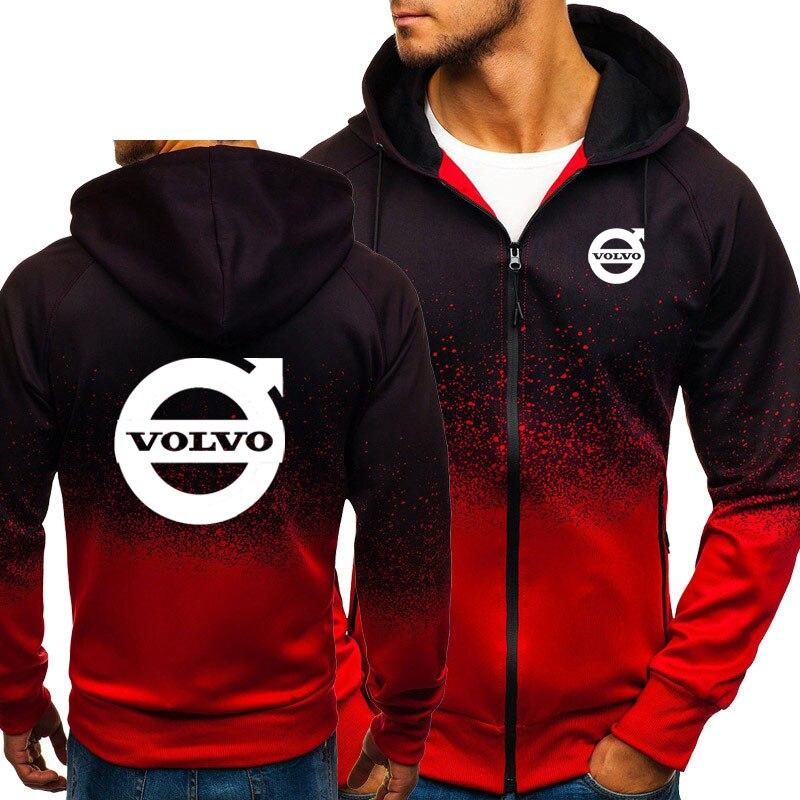 Hoodies Men Volvo Car Logo Print Casual HipHop Harajuku Gradient Color Hooded Mens Fleece Sweatshirts Zipper Jacket Man Clothing