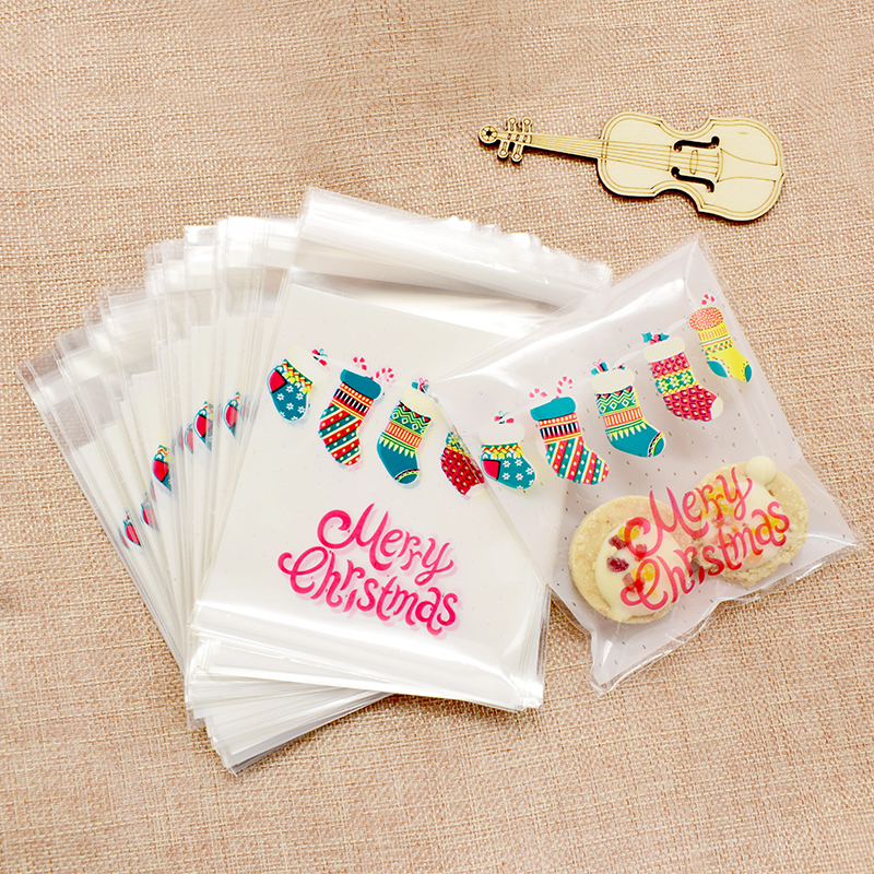 2019 10pcs Colorful Christmas Socks Plastic Cookies Packaging Bags Xmas Self Adhesive Gift Bag Candy Biscuit Pouch Party Decor