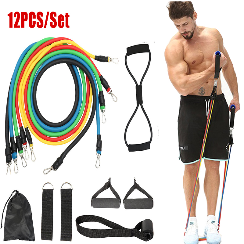 12pc Fitness Resistance Bands Set  Elastic Bodybuilding Resistant Resistance Bands Sport Rubber Bands Fitness Expander