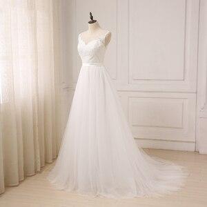 Image 3 - Jiayigong זול תחרה חתונה שמלת O צוואר טול Applique Boho חוף כלה שמלת כלה בוהמית שמלות Robe De Mariage