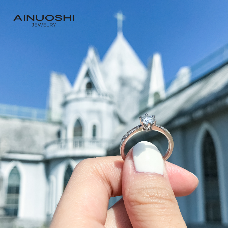 AINUOSHI 0.5 Carat Classic Fashion Round Cut Moissanite Engagement Rings For Women Sterling Silver Fine Jewelry Gifts